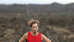 Running man - trail runner in extreme race training for ultra marathon Stock Footage