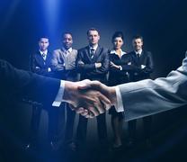Handshake isolated on business background Stock Photos