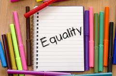 Equality text concept Stock Photos
