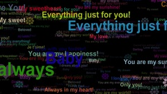 Love confession concept words moving RIGHT, seamless loop Stock Footage