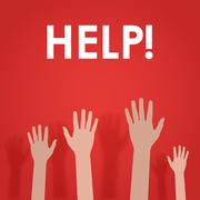 Raised hands up, asking for help. Stock Illustration