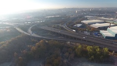 Rising and tilting aerial view of Spaghetti Junction in Birmingham, UK. Stock Footage