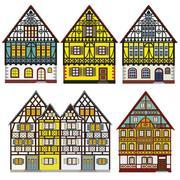Historic Farm Houses Set Stock Illustration