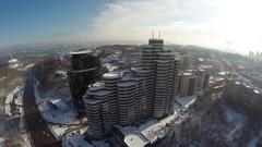 Kiev winter, Pechersk hills, aerial view Stock Footage
