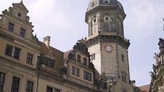 Hausmannsturm Castle clock tower, medium shot, Dresden, Germany Stock Footage