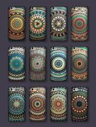 Phone cover collection, boho style pattern. Vector background. Vintage deco.. Stock Illustration