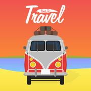 Camper van. Summer vacation. Vector illustration. Stock Illustration