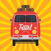 Camper van. Summer vacation. Stock Illustration