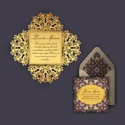 Wedding invitation or greeting card with vintage floral ornament. Paper lac.. Stock Illustration