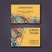 Vector Business card Design Template with Ornamental geometric mandala patt.. Stock Illustration
