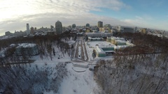 Kiev winter, Mariinsky park, aerial view Stock Footage