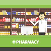 Young  pharmacy chemist man standing in drugstore. Vector flat  illustrations Piirros