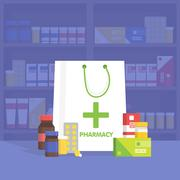 Modern interior pharmacy and drugstore.  Vector simple illustration. Piirros