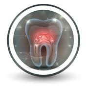 Tooth with roots abstract bright icon design Stock Illustration