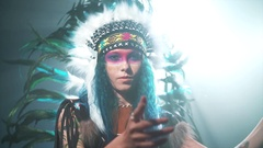 Native American woman conjuring Stock Footage