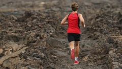 Trail runner man running cross-country run living healthy sports lifestyle Stock Footage