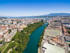 Aerial view of Arve an Rhone river confluent in  Geneva Switzerland Kuvituskuvat