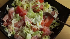 Fresh vegetable salad and white sauce Stock Footage