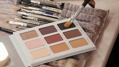 Makeup artist uses a beautiful eye shadow Stock Footage