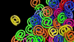 At sign symbol transition email internet web social network e-mail digital 4k Stock Footage