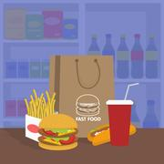 Banner with fast food with cola, hamburger and fries Stock Illustration