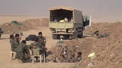 October 2016: Soldiers sit on a chairs ,war news,ISIS war,SDF,Mosul,Iraq,Syria Stock Footage