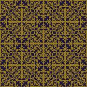 Elegant gold brown and blue background of spiral vine plant kaleidoscope Stock Illustration