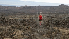 Trail runner - running man cross country training outdoors for marathon Stock Footage