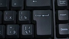 The man pressing the enter key Stock Footage