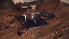 Close up of coffee grounds in the vessel for coffee maker in 4K Stock Footage