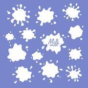Milk, yogurt or cream blots set. White smudges splashes drops on blue backg.. Stock Illustration