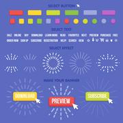 Buttons maker constructor. Create your banner for web, presentation, game Stock Illustration