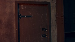 Old scratched door in the loft interior Stock Footage
