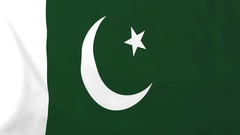 Flag of Pakistan waving in the wind, seemless loop animation Stock Footage