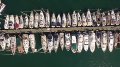 Top view marina aerial yacht business boat harbor with drone Aerial shooting Stock Footage