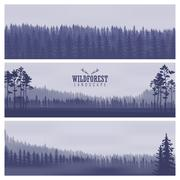 Horizontal abstract banners of hills of coniferous wood in dark blue tone Stock Illustration