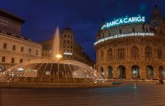 Twilight photo of Piazza De Ferrari is the main square of Genoa Kuvituskuvat