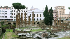 Square of Argentina - archeological dig, Rome, Italy Stock Footage