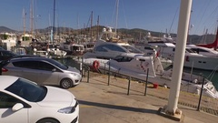Marina yacht drone shot business boat harbor luxury tourism Bodrum Mugla, Turkey Stock Footage