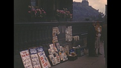 Vintage 16mm film, 1952, Scotland Edinburgh people b-roll, news stand, people Stock Footage