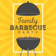 Lovely vector barbecue party invitation design template. Trendy BBQ cookout.. Stock Illustration