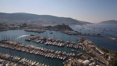Aerial Shooting with drone. Bodrum Marina, yachts, sea and bodrum castle. Stock Footage