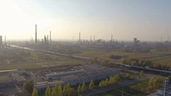 Industrial aerial view of big modern oil and gas plant or factory Stock Footage