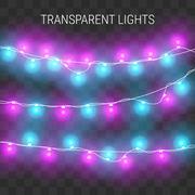 Glowing lights. Christmas garland on transparent background Stock Illustration