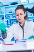 A young chemist holding test tube with liquid during chemical experiment.  Stock Photos