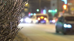 Cars stand in traffic jam because of the freezing rain Stock Footage