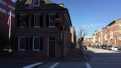 Baltimore flag house  - home of Star Spangled Banner - pan right to left Stock Footage