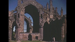 Vintage 16mm film, 1952, Scotland Jedburgh Augustinian Abbey ruins Stock Footage