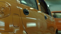 Car painting in another color in the workshop Stock Footage