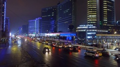 Moscow night aerial cityscape Christmas New Year time, New Arbat avenue. Stock Footage